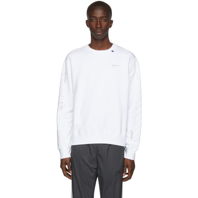Photo: Off-White White and Silver Diagonal Unfinished Slim Sweatshirt