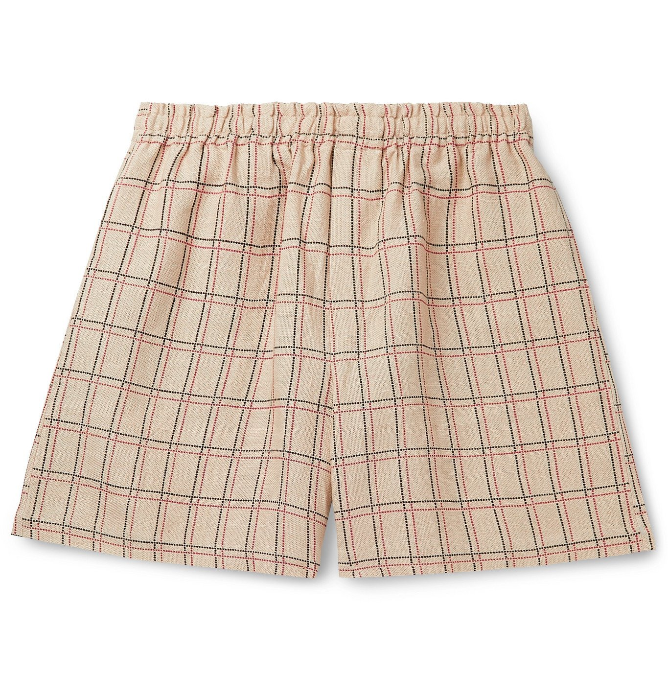 Photo: BODE - Checked Linen Drawstring Shorts - Neutrals