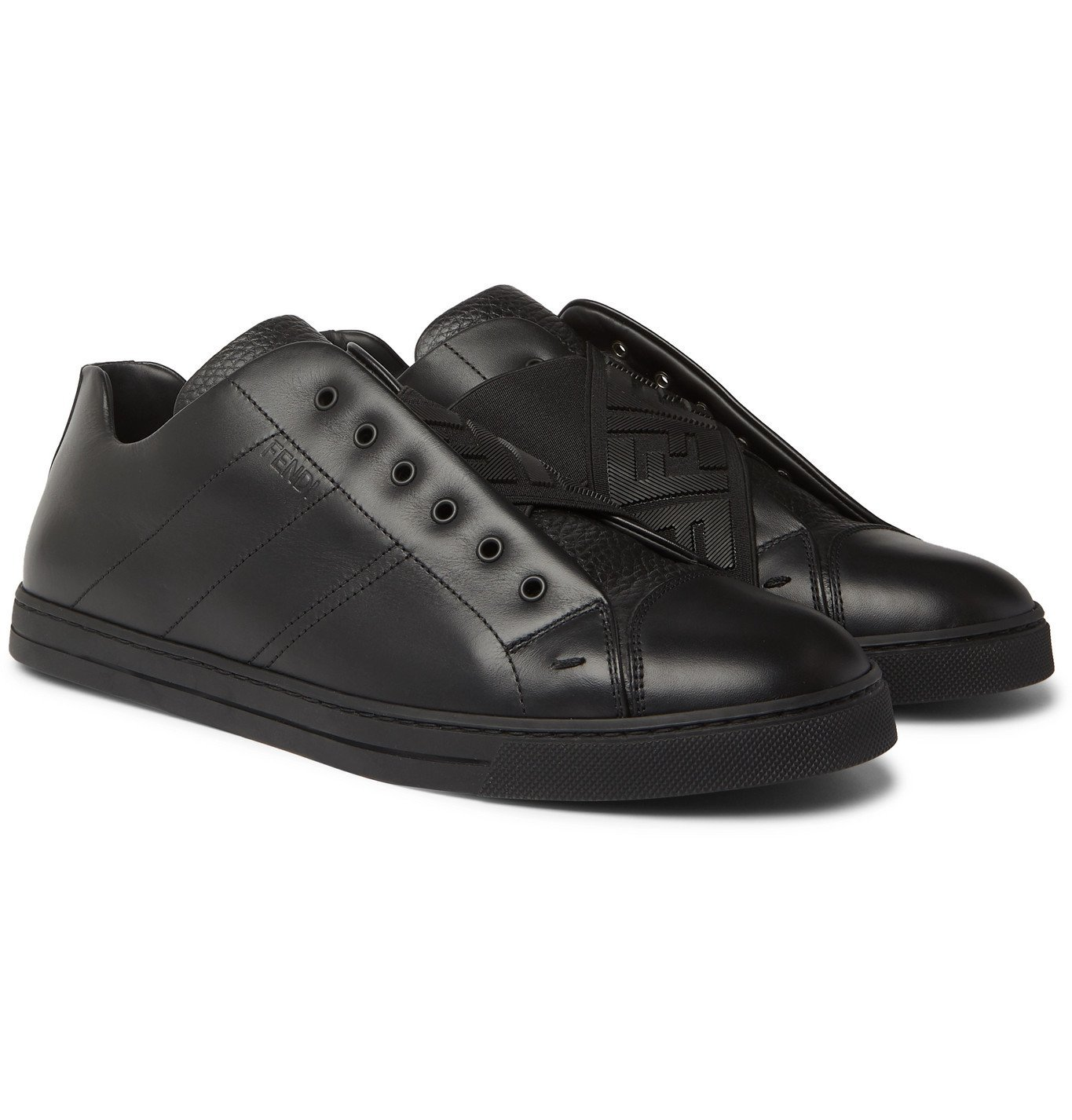 Photo: Fendi - Smooth and Full-Grain Leather Slip-On Sneakers - Black