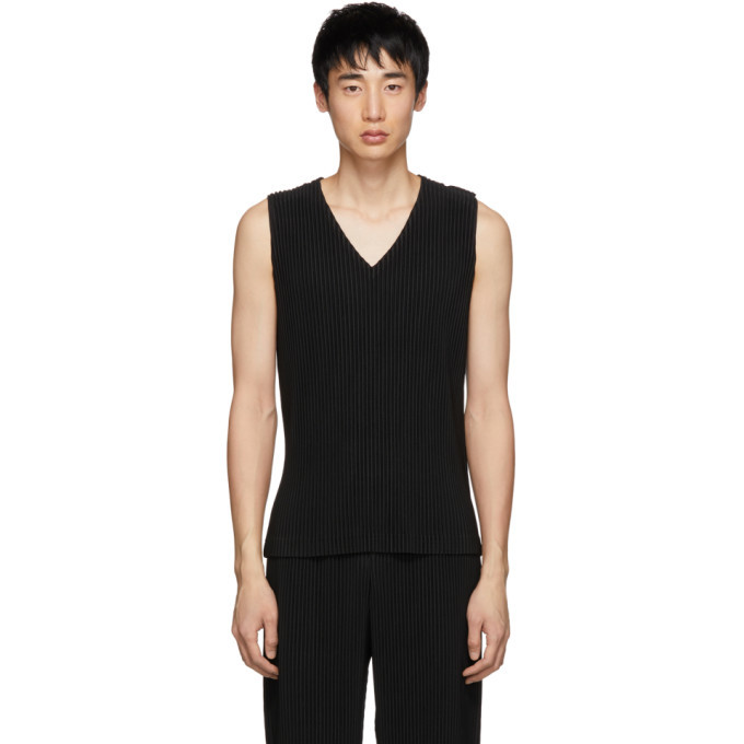 Photo: Homme Plisse Issey Miyake Black Pleated Tank Top