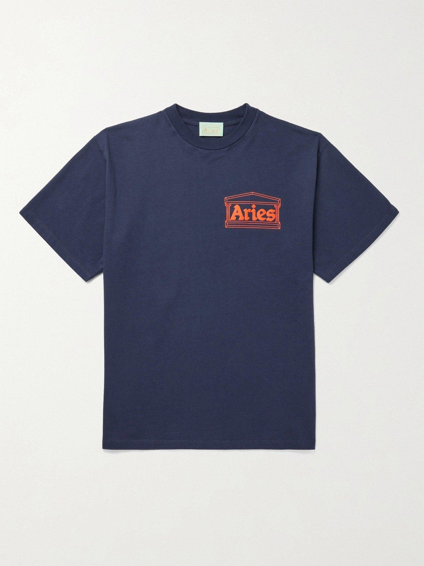Photo: ARIES - Logo-Print Cotton-Jersey T-Shirt - Blue