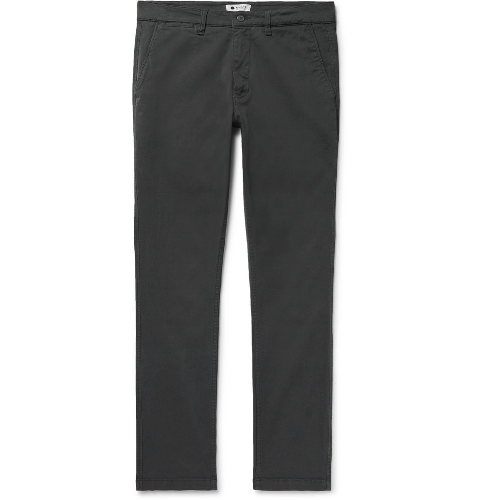 Photo: NN07 - Marco Slim-Fit Stretch-Cotton Twill Chinos - Men - Charcoal