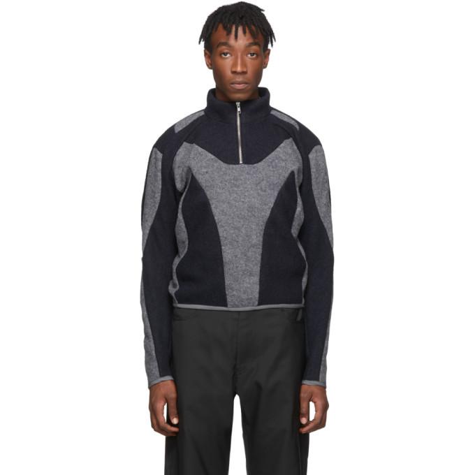 Photo: GmbH Grey and Navy Felt Artis Zip Up Pullover