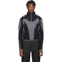 GmbH Grey and Navy Felt Artis Zip Up Pullover