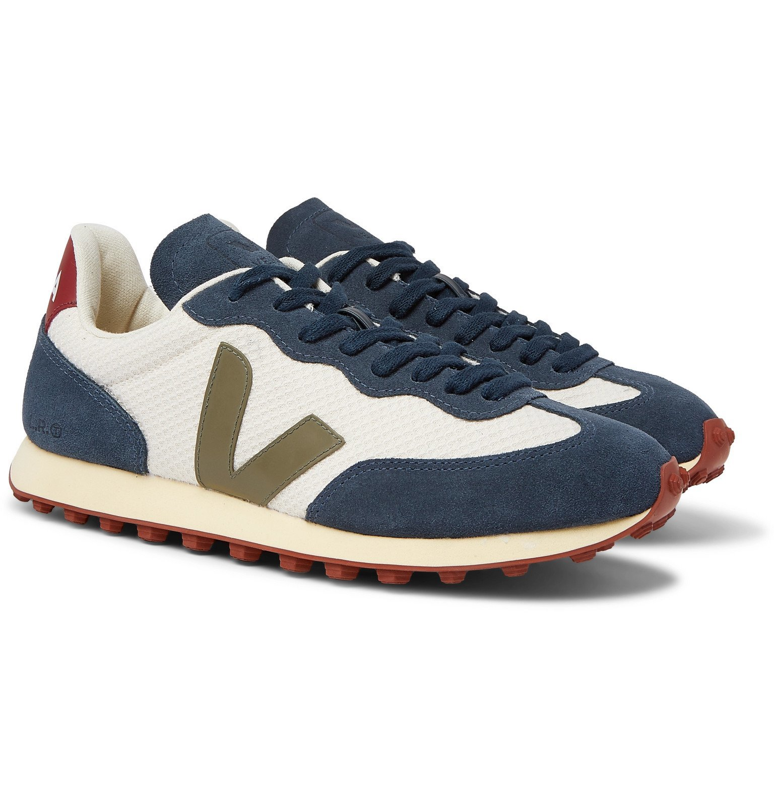 Photo: Veja - Rio Branco Leather and Rubber-Trimmed Hexamesh and Suede Sneakers - Blue