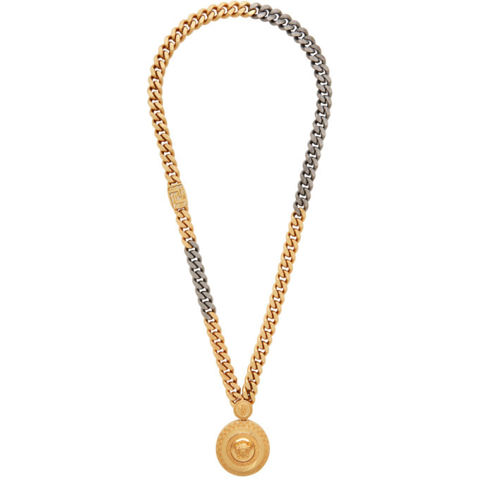 Photo: Versace Gold Cuban Link Medusa Necklace