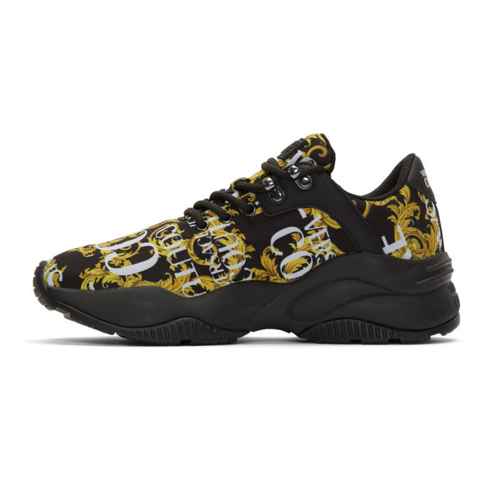Versace Jeans Couture Black and Gold Monster Sole Sneakers