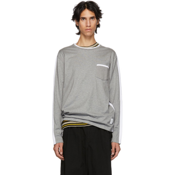Photo: Thom Browne Grey and Navy Long Sleeve T-Shirt