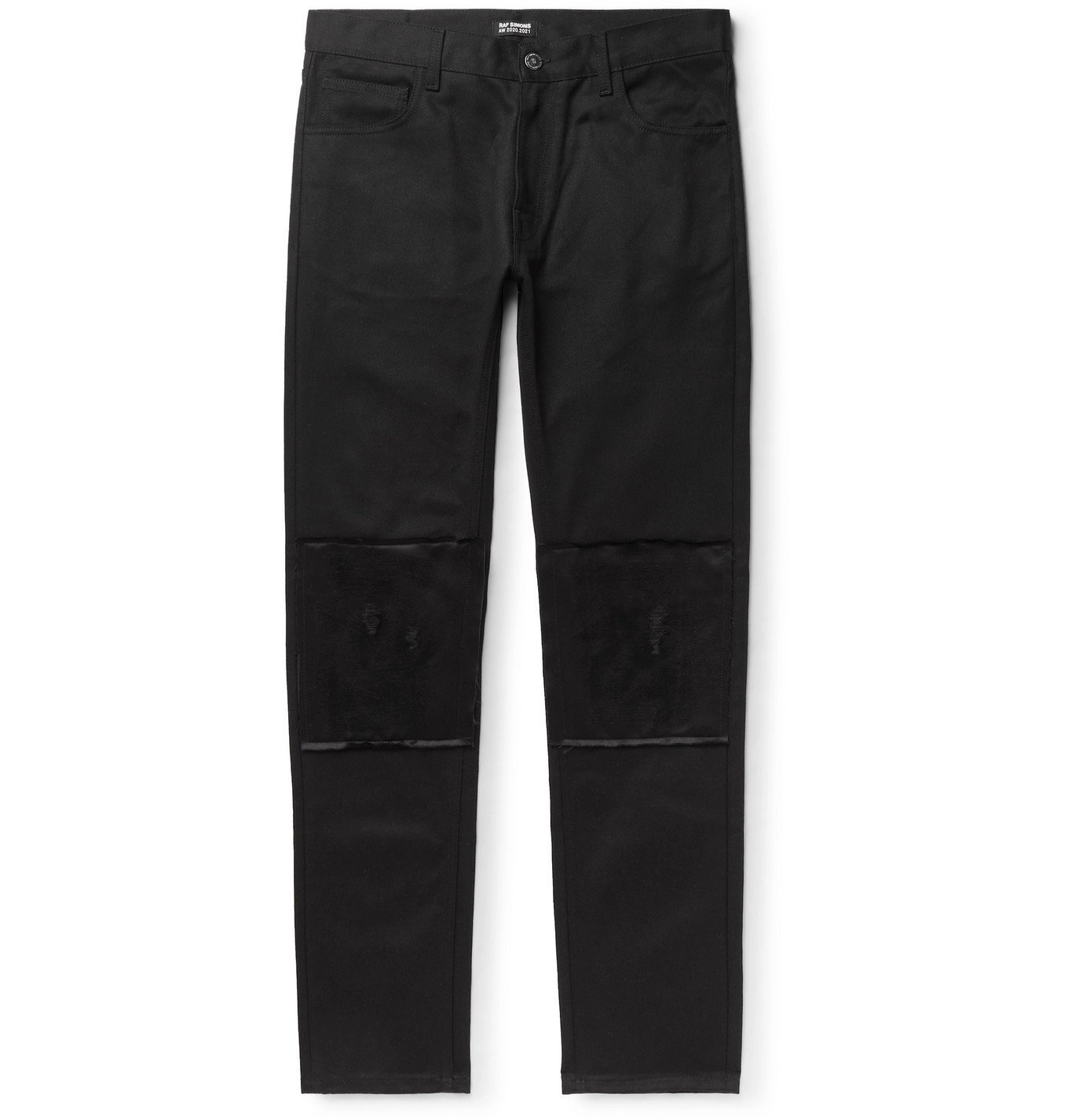 Raf Simons - Slim-Fit Distressed Satin-Trimmed Denim Jeans - Black