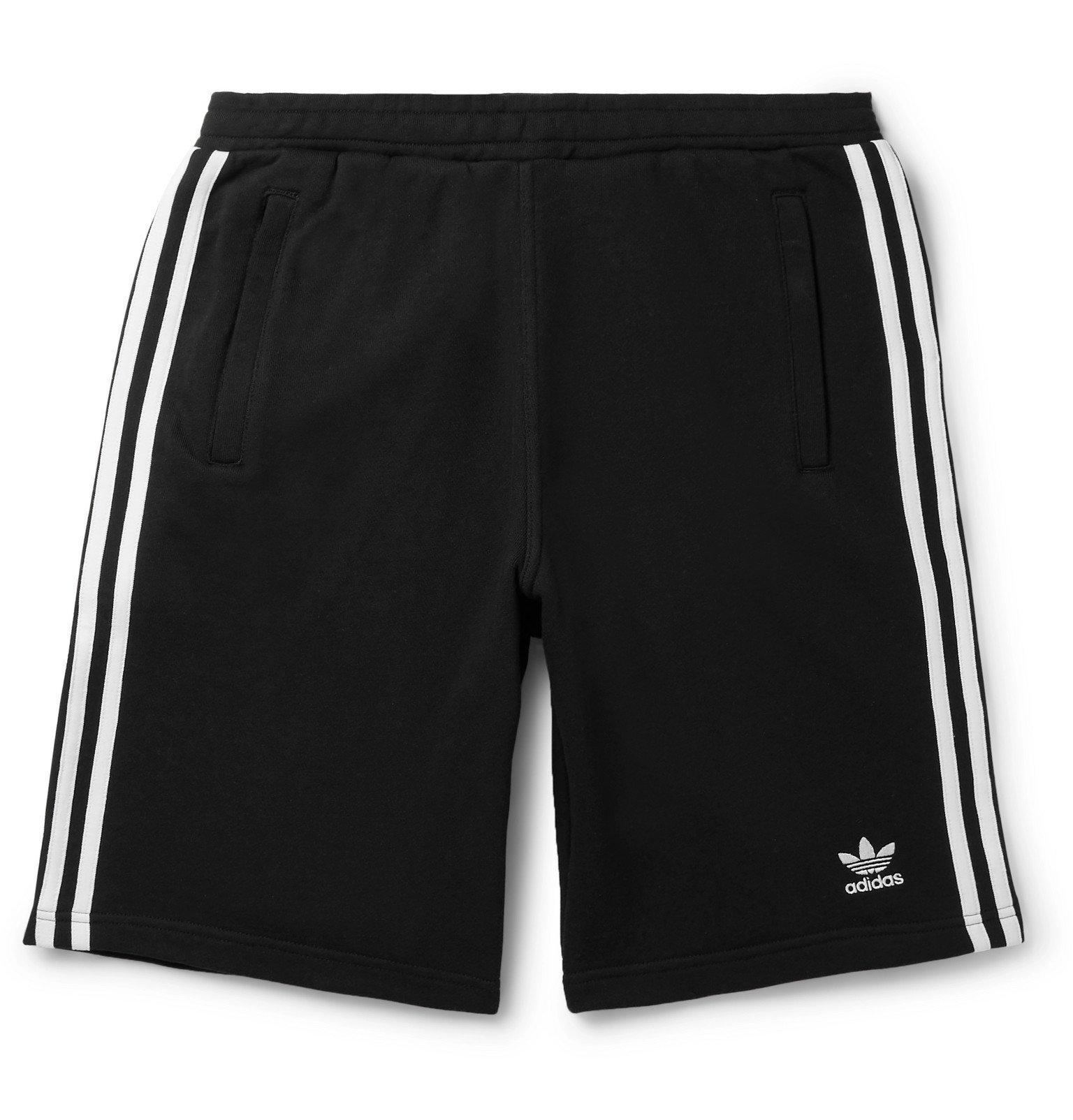 adidas Originals - Logo-Embroidered Striped Loopback Cotton-Jersey Shorts - Black