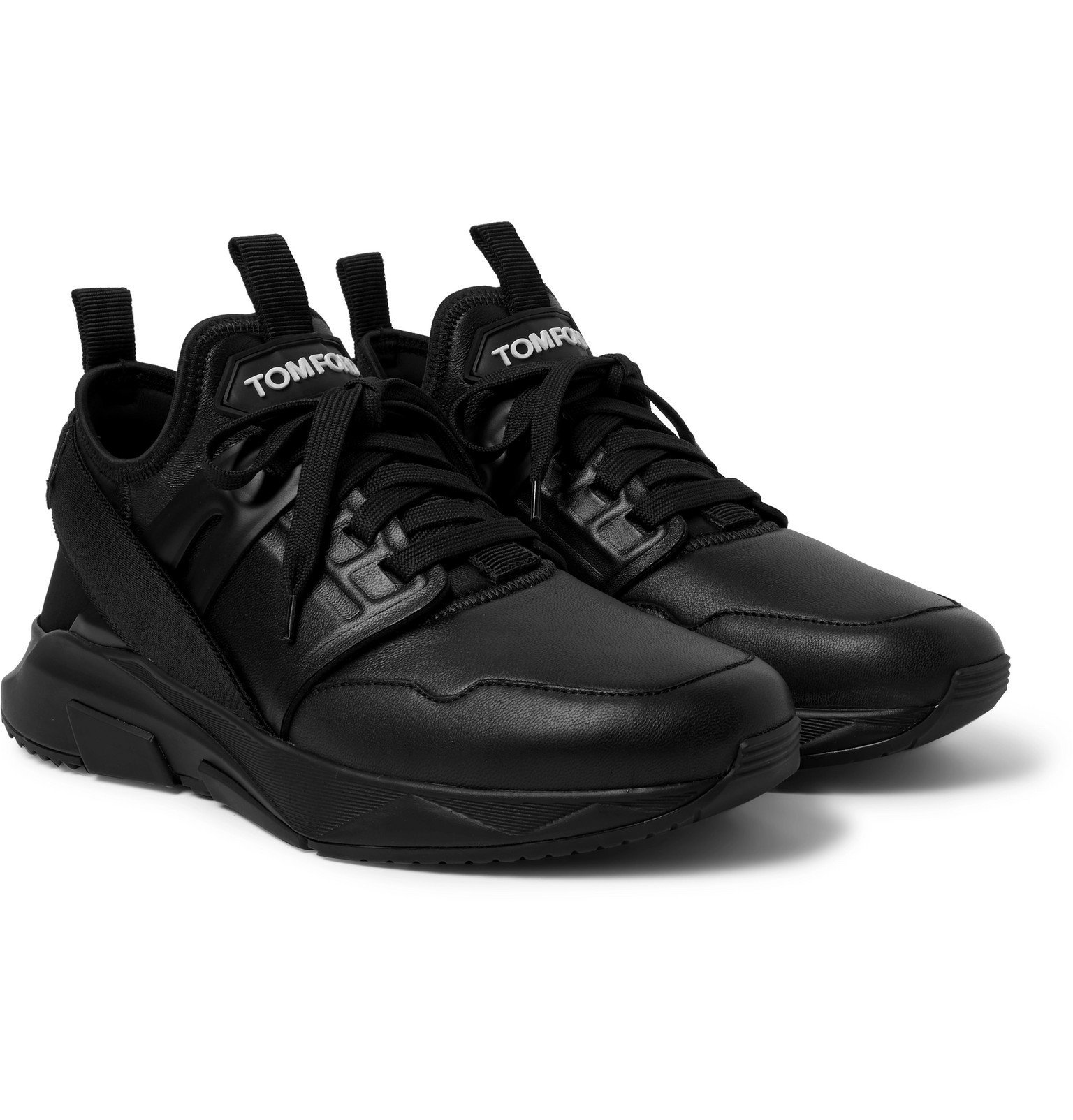 Photo: TOM FORD - Jago Leather and Neoprene Sneakers - Black