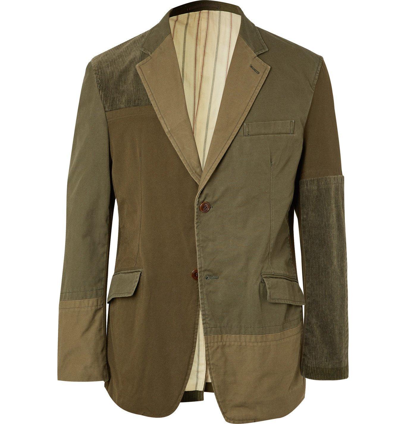 Photo: Comme des Garçons HOMME - Patchwork Cotton-Blend and Corduroy Blazer - Green