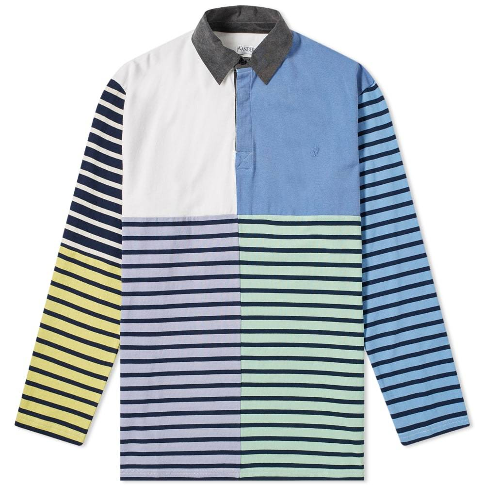 Photo: JW Anderson Long Sleeve Patchwork Rugby Jersey Polo Shirt China Blue