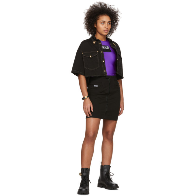 Versace Jeans Couture Black Denim Cropped Shirt