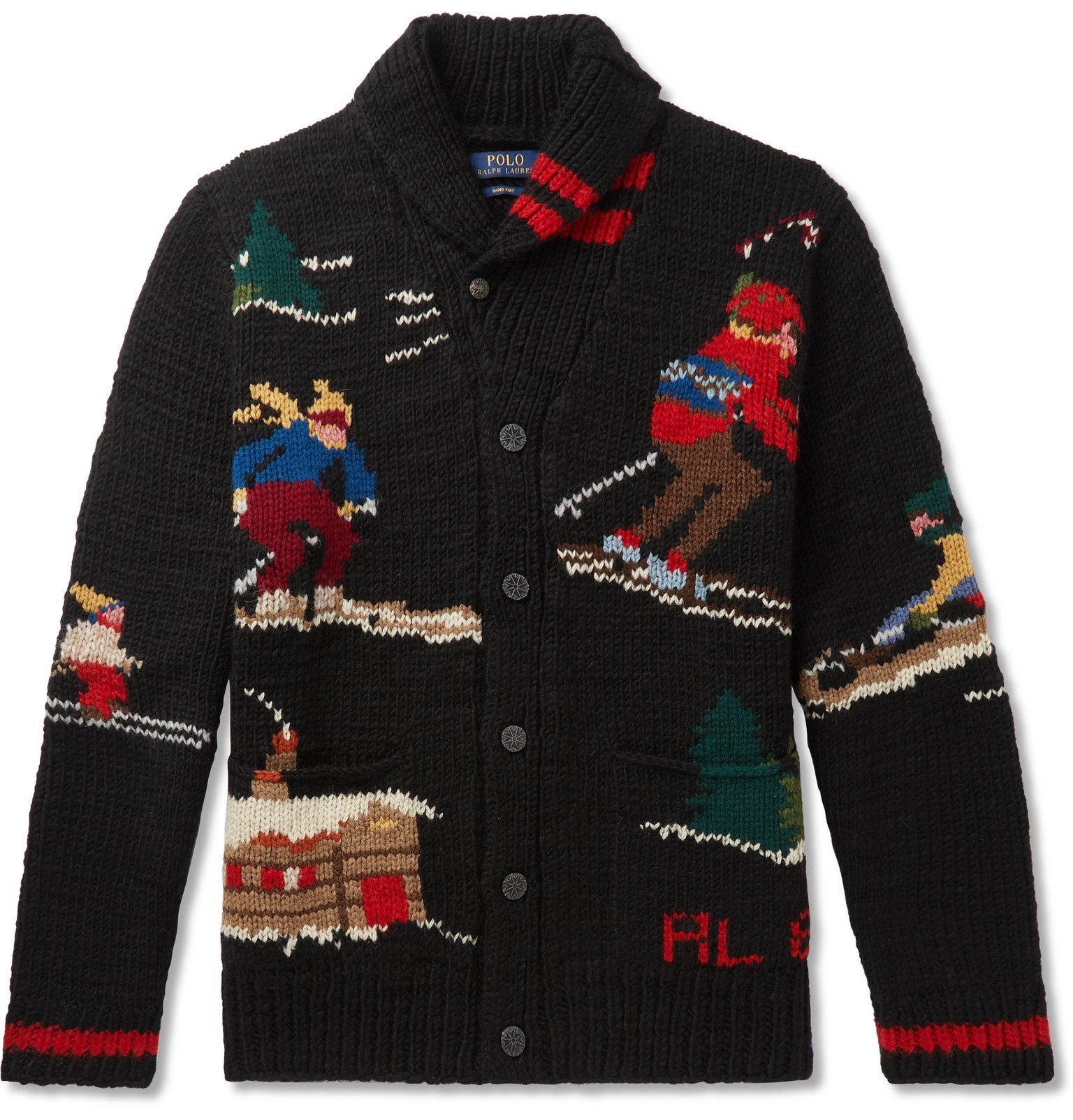Photo: Polo Ralph Lauren - Shawl-Collar Wool-Blend Jacquard Cardigan - Black