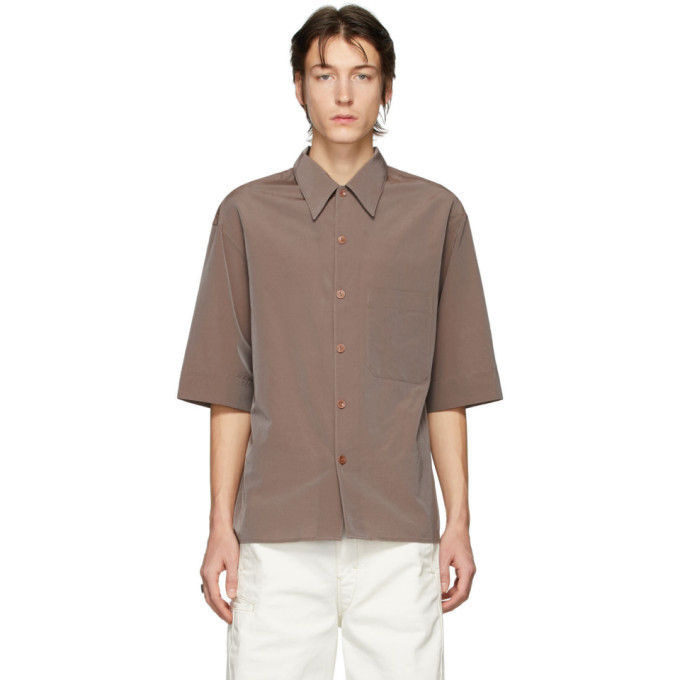 Photo: Lemaire Taupe Convertible Collar Short Sleeve Shirt