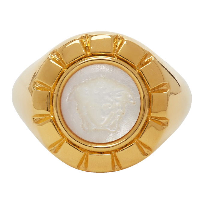 Photo: Versace Gold and White Palazzo Ring