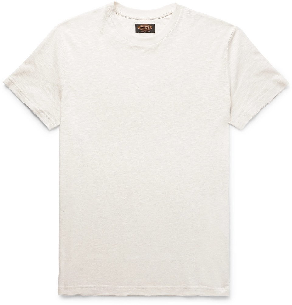 Tod's - Embroidered Cotton and Linen-Blend T-Shirt - Men - Ivory