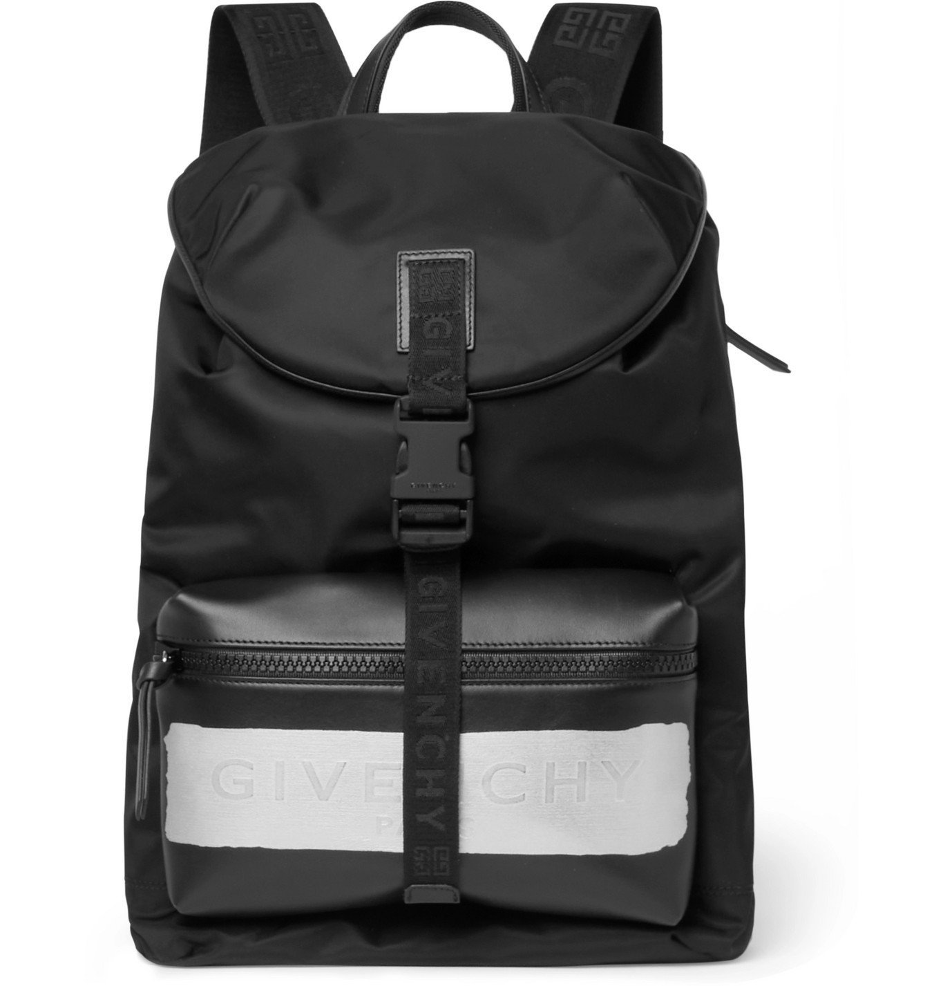 Photo: GIVENCHY - Logo Webbing-Trimmed Leather and Shell Backpack - Black