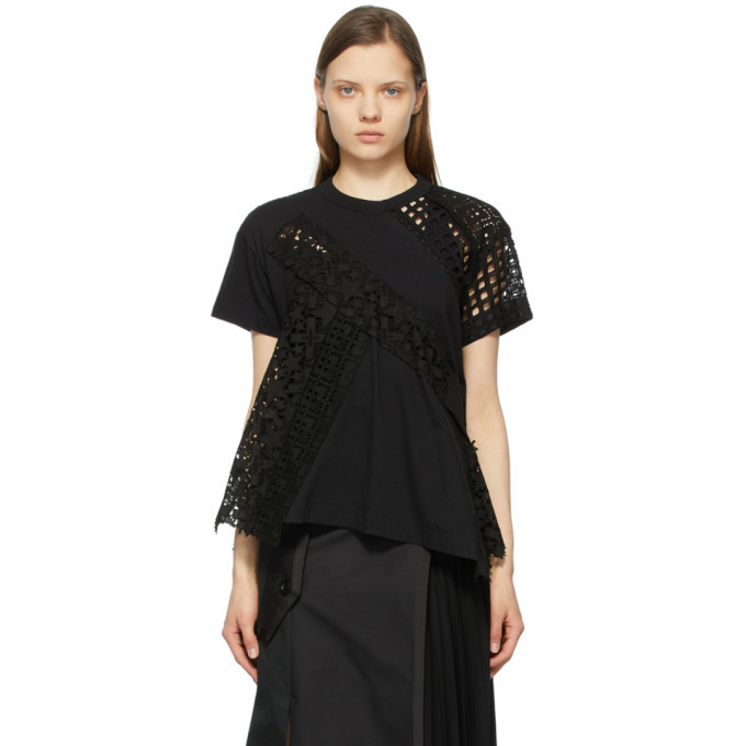 Sacai Black Star Embroidered T-Shirt