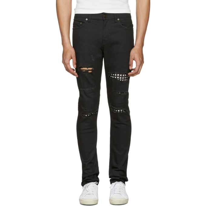 Photo: Saint Laurent Black Studded Low Waisted Skinny Jeans