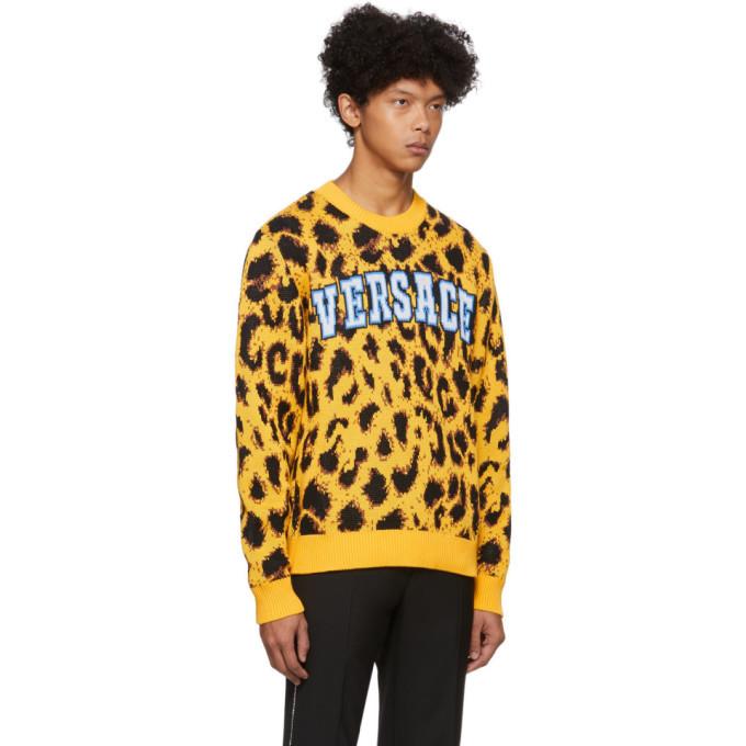 Versace Yellow Jacquard Pop Animalier Sweater