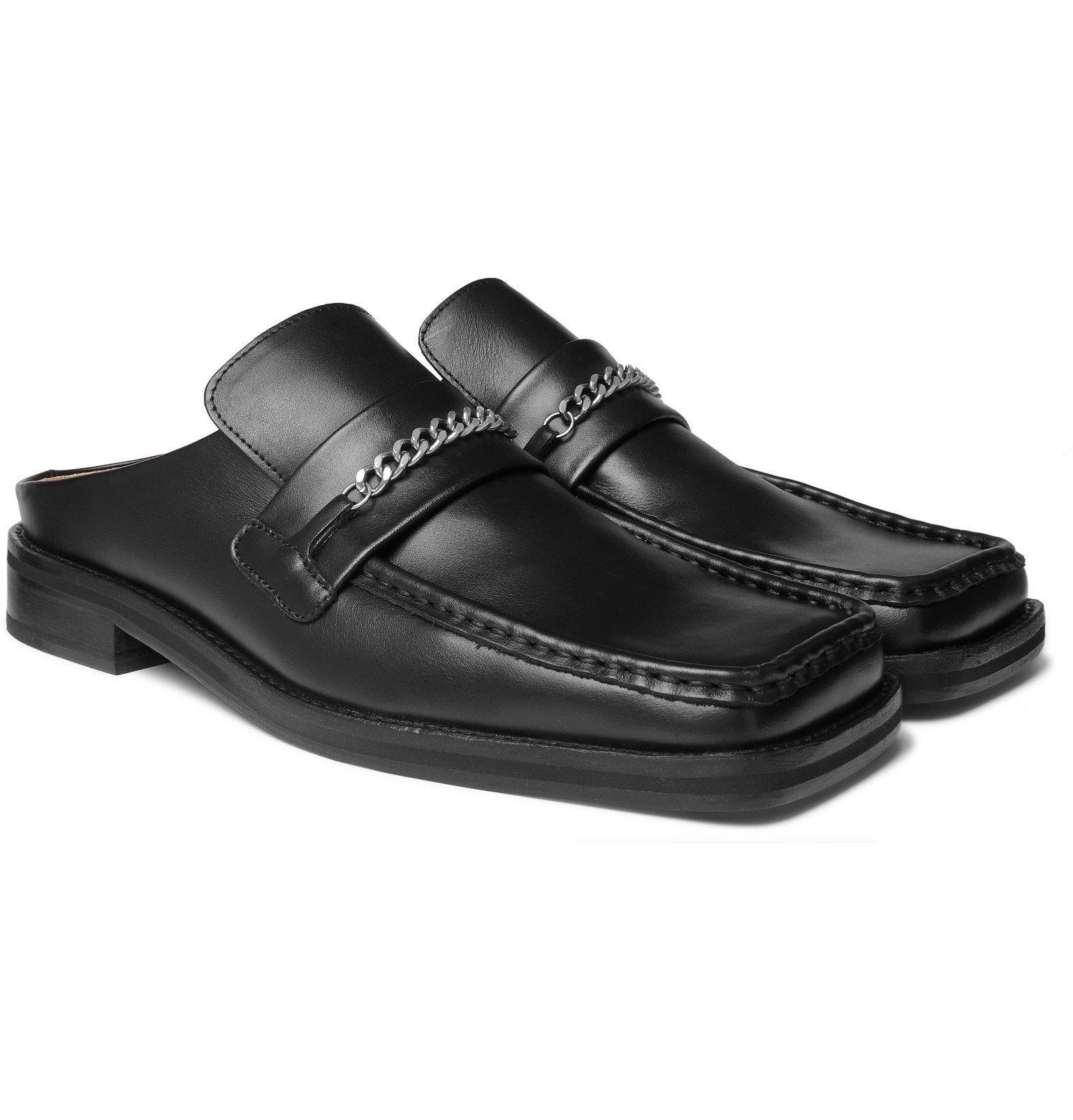 Martine Rose - Embellished Leather Backless Loafers - Black