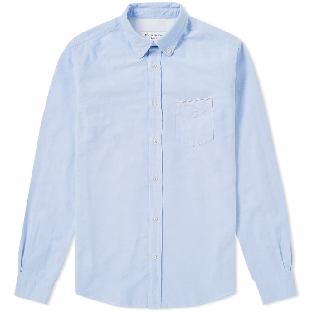 Photo: Officine Generale Button Down Japanese Selvedge Oxford Shirt Blue