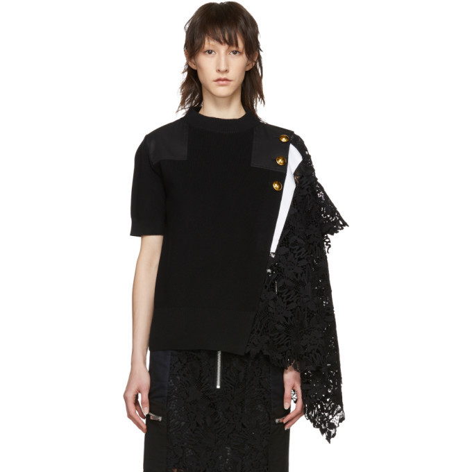 Sacai Black Knit Lace Sweater