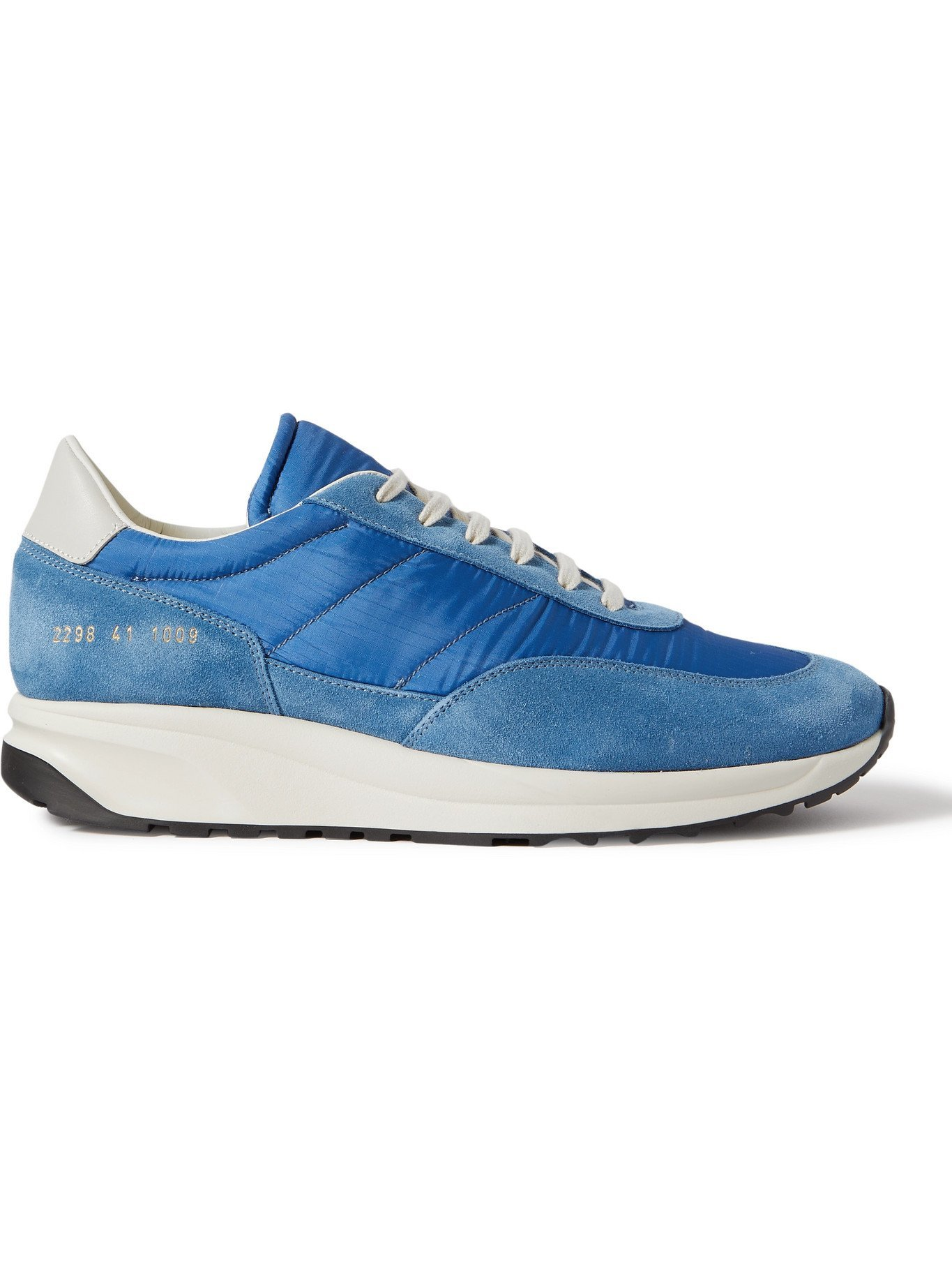 Photo: COMMON PROJECTS - Track Classic Leather-Trimmed Suede and Ripstop Sneakers - Blue