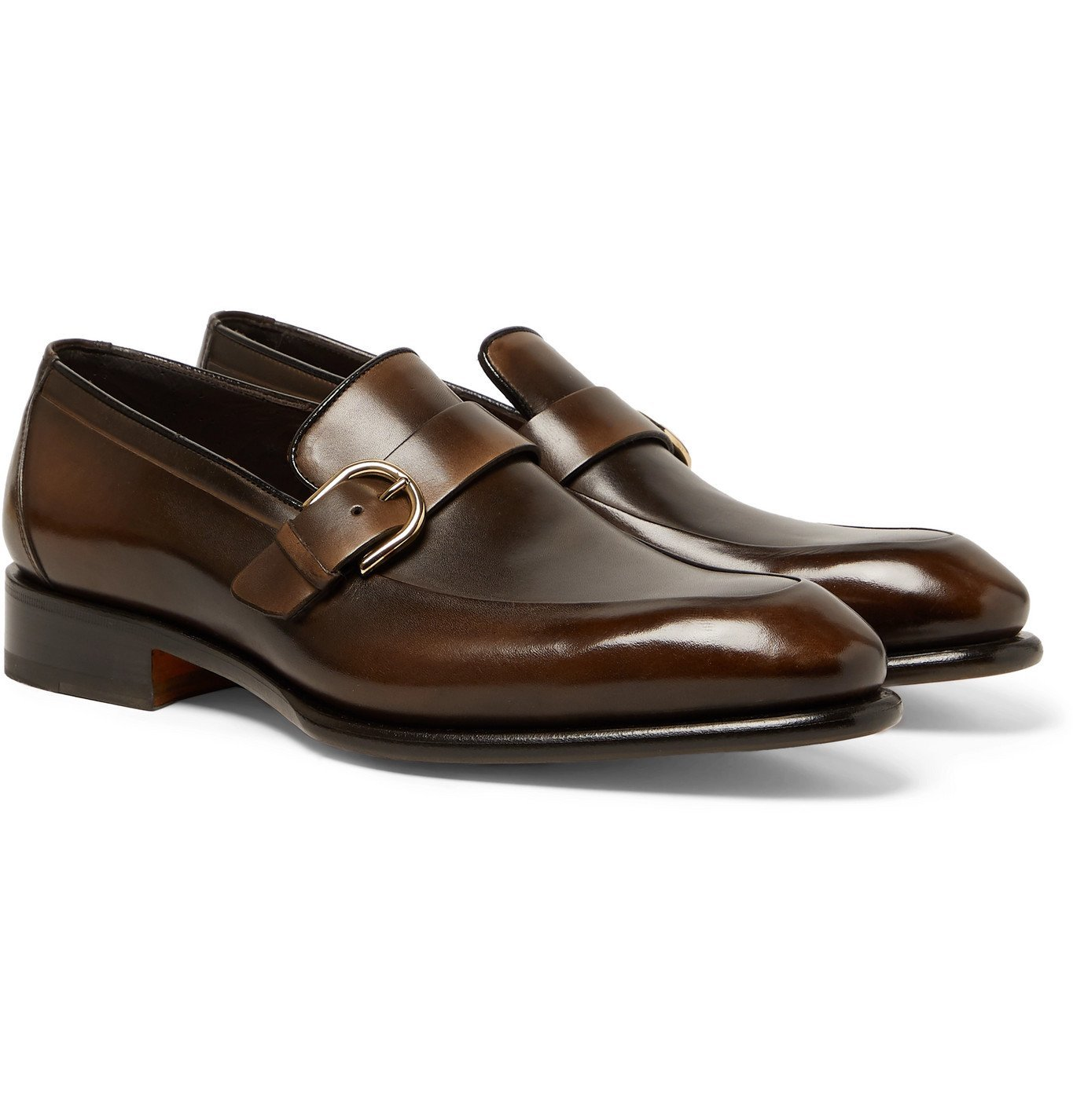 Photo: Santoni - Burnished-Leather Buckled Loafers - Brown