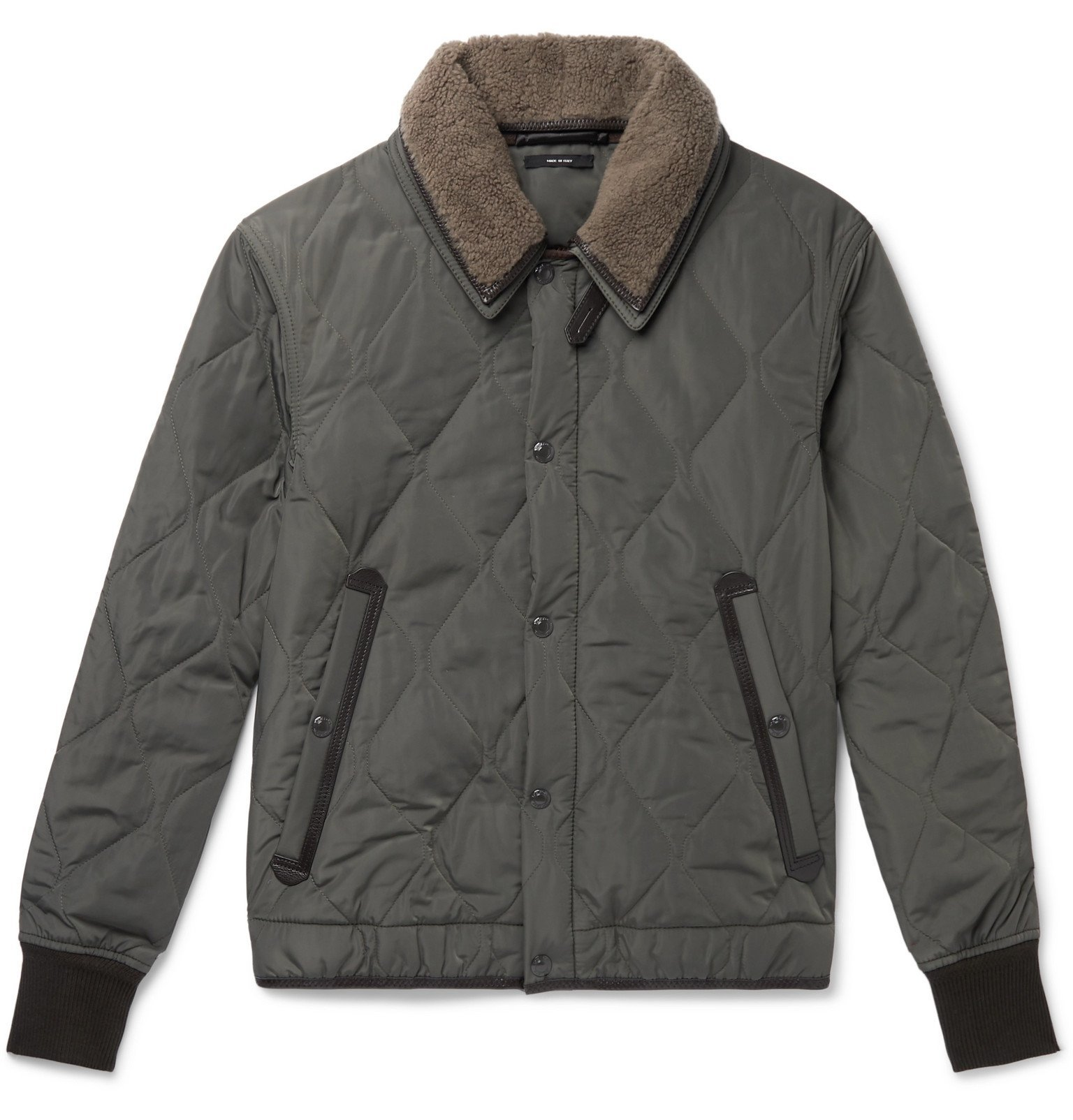 Photo: TOM FORD - Slim-Fit Leather and Shearling-Trimmed Quilted Shell Jacket - Green