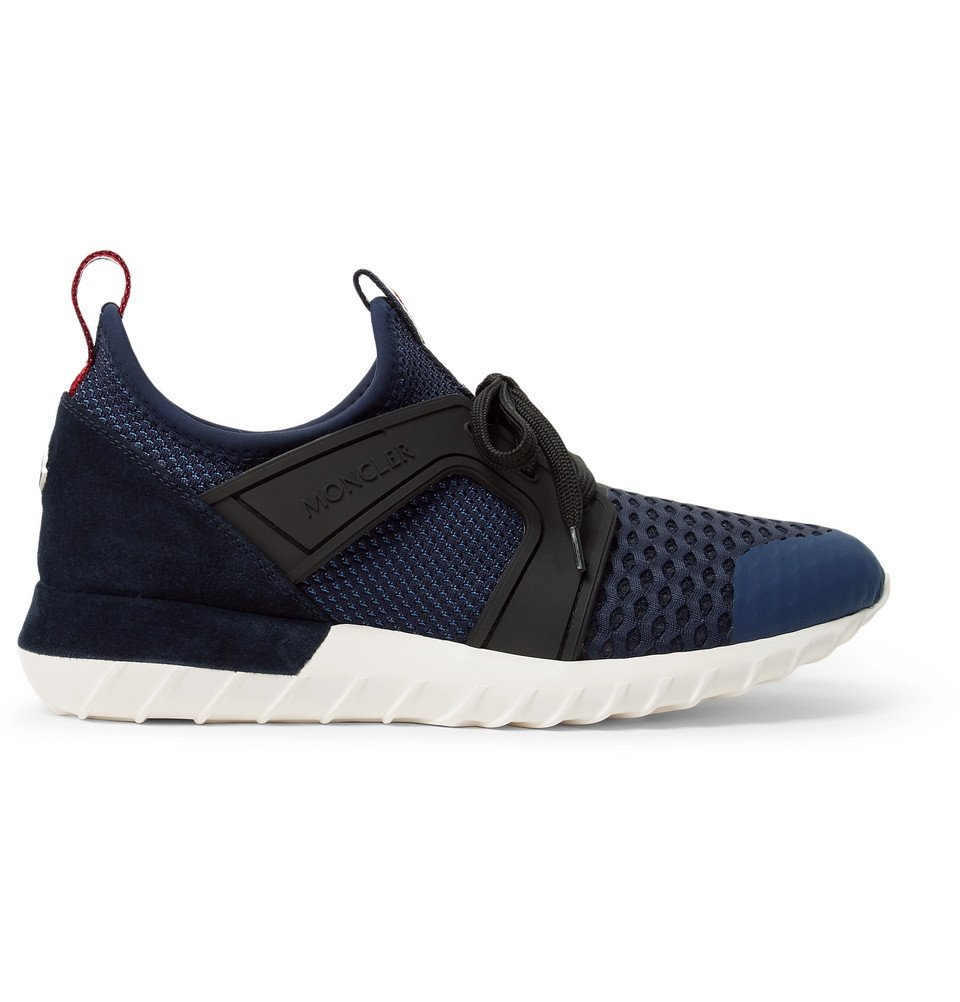 Photo: Moncler - Emilien Suede and Rubber-Trimmed Mesh Sneakers - Navy