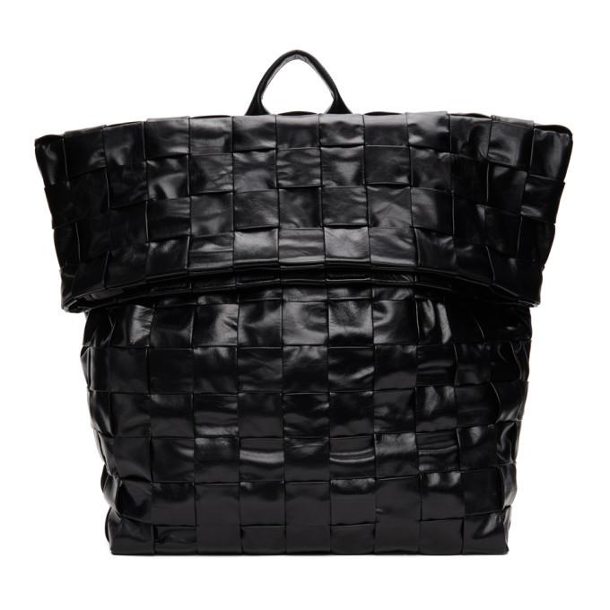 Photo: Bottega Veneta Black Intrecciato Medium The Casette Backpack