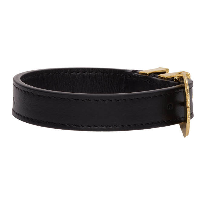 Versace Black and Gold Buckle Bracelet