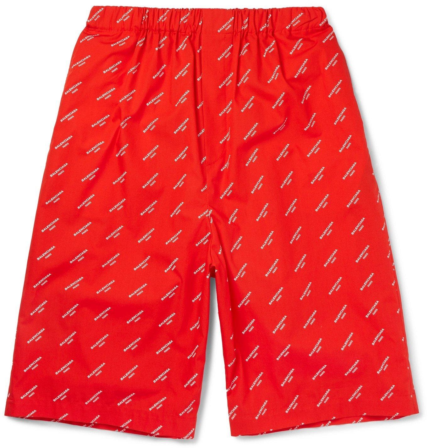 Photo: Balenciaga - Printed Cotton-Poplin Shorts - Red
