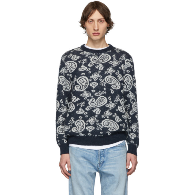 Photo: Aries Navy Mohair Paisley Sweater