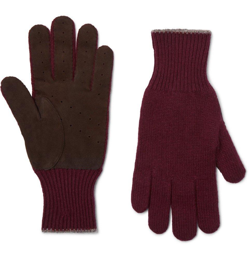 Photo: Brunello Cucinelli - Wool and Suede Gloves - Men - Burgundy