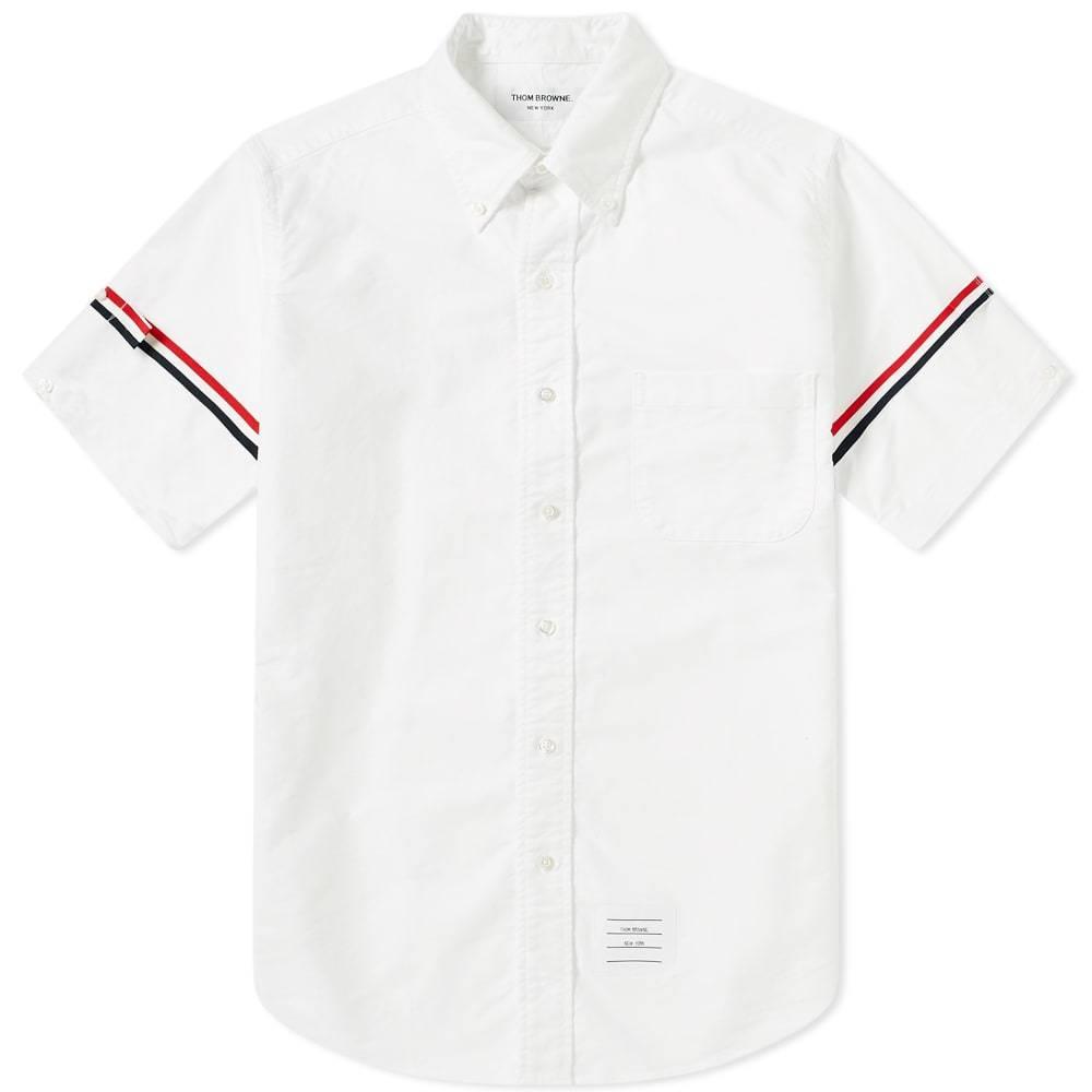 Photo: Thom Browne Short Sleeve Classic Grosgrain Arm Band Oxford Shirt
