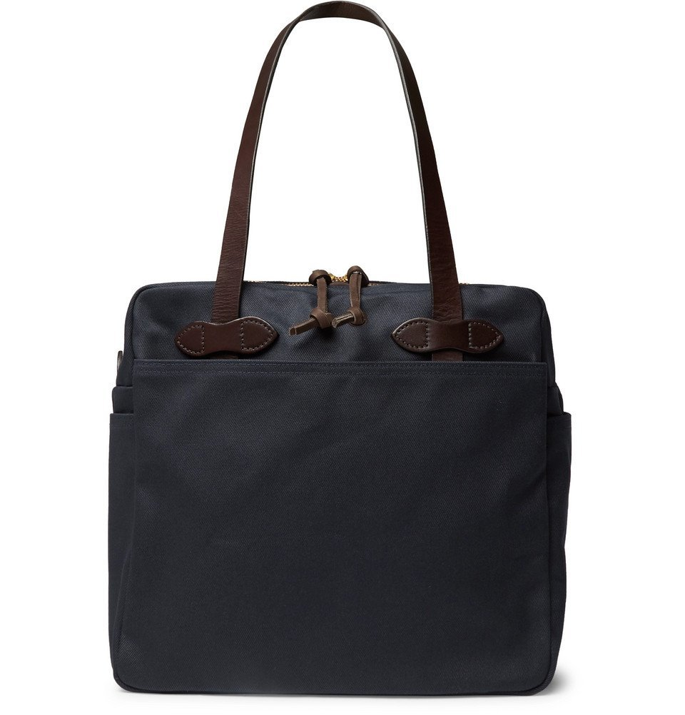 Filson - Leather-Trimmed Cotton-Twill Tote Bag - Men - Navy