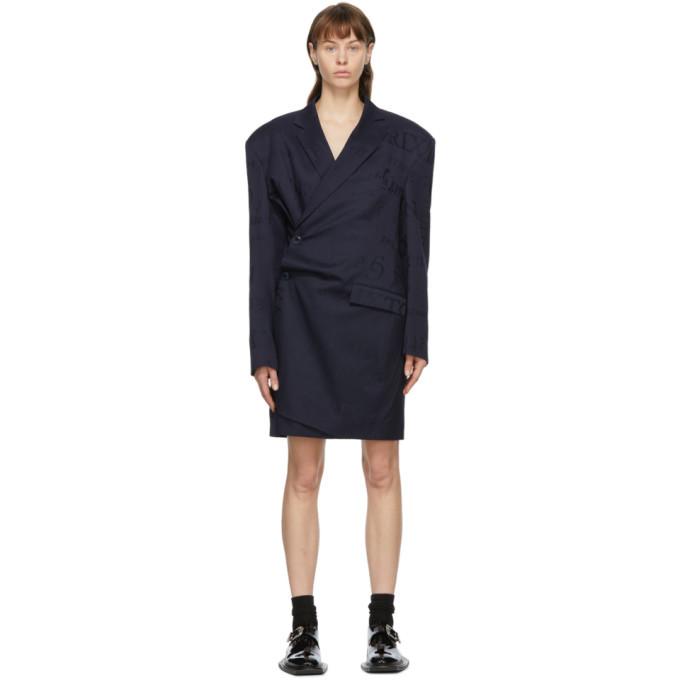Photo: Martine Rose Navy Wool Geneve Wrap Dress