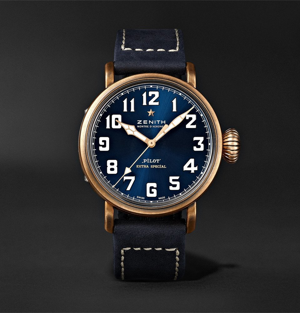 Photo: Zenith - Pilot Type 20 Extra Special Automatic 40mm Bronze and Nubuck Watch - Blue
