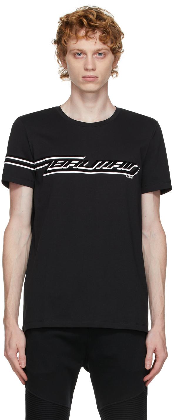 Photo: Balmain Black Flocked Logo T-Shirt
