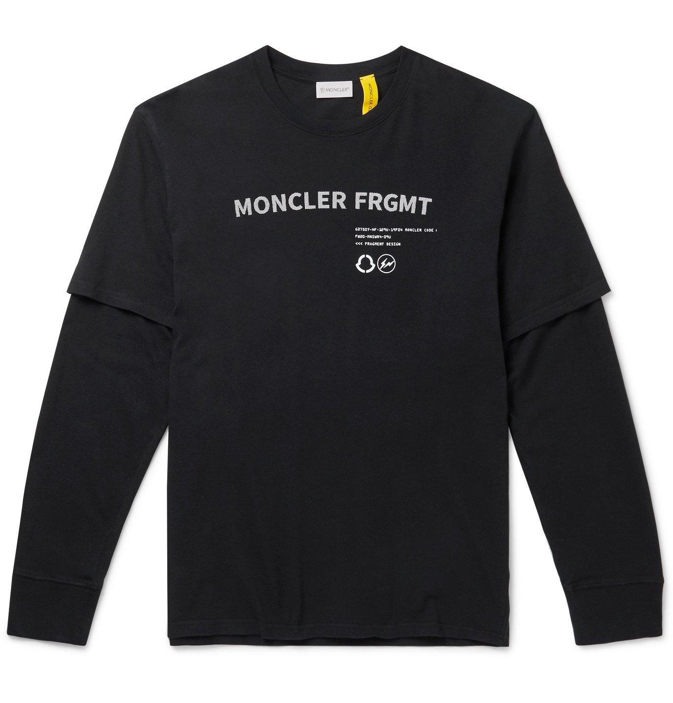 Photo: Moncler Genius - 7 Moncler Fragment Hiroshi Fujiwara Layered Printed Cotton-Jersey T-Shirt - Black