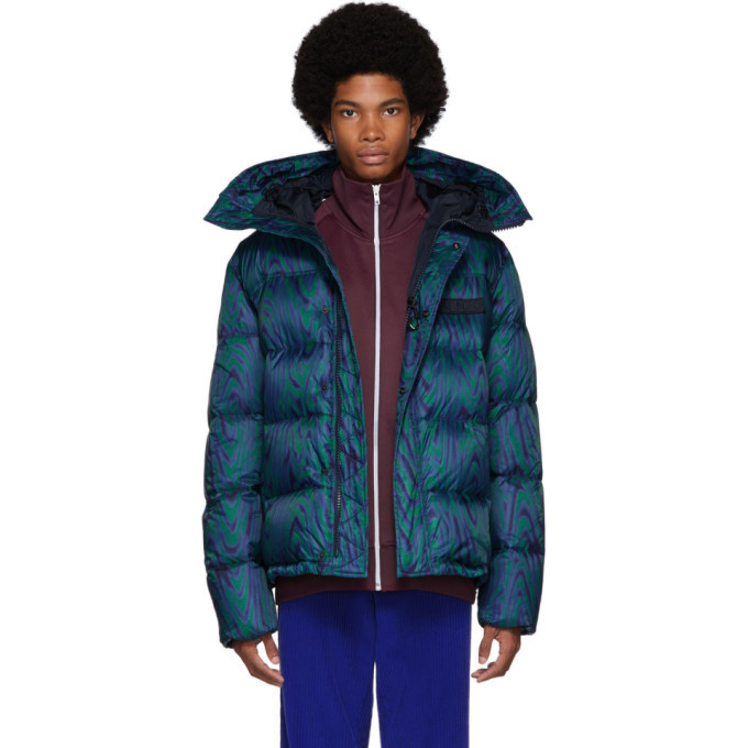 Photo: Kenzo Blue and Green Down Moire Tiger Puffer Jacket