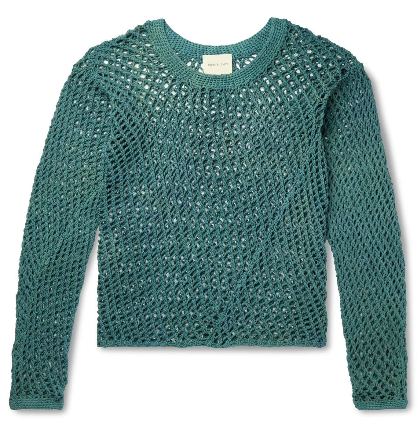 Photo: Nicholas Daley - Open-Knit Cotton Sweater - Green