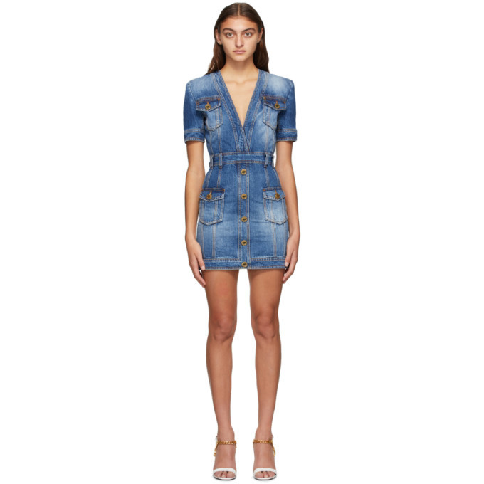 Photo: Balmain Blue Denim Vintage V-Neck Dress