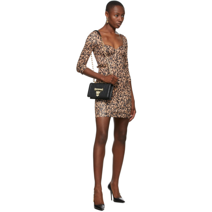 Versace Jeans Couture Beige and Black Leopard Bustier Dress
