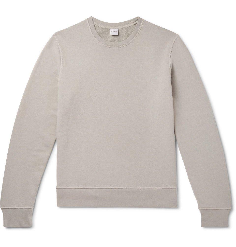 Photo: Aspesi - Garment-Dyed Loopback Cotton-Jersey Sweatshirt - Gray