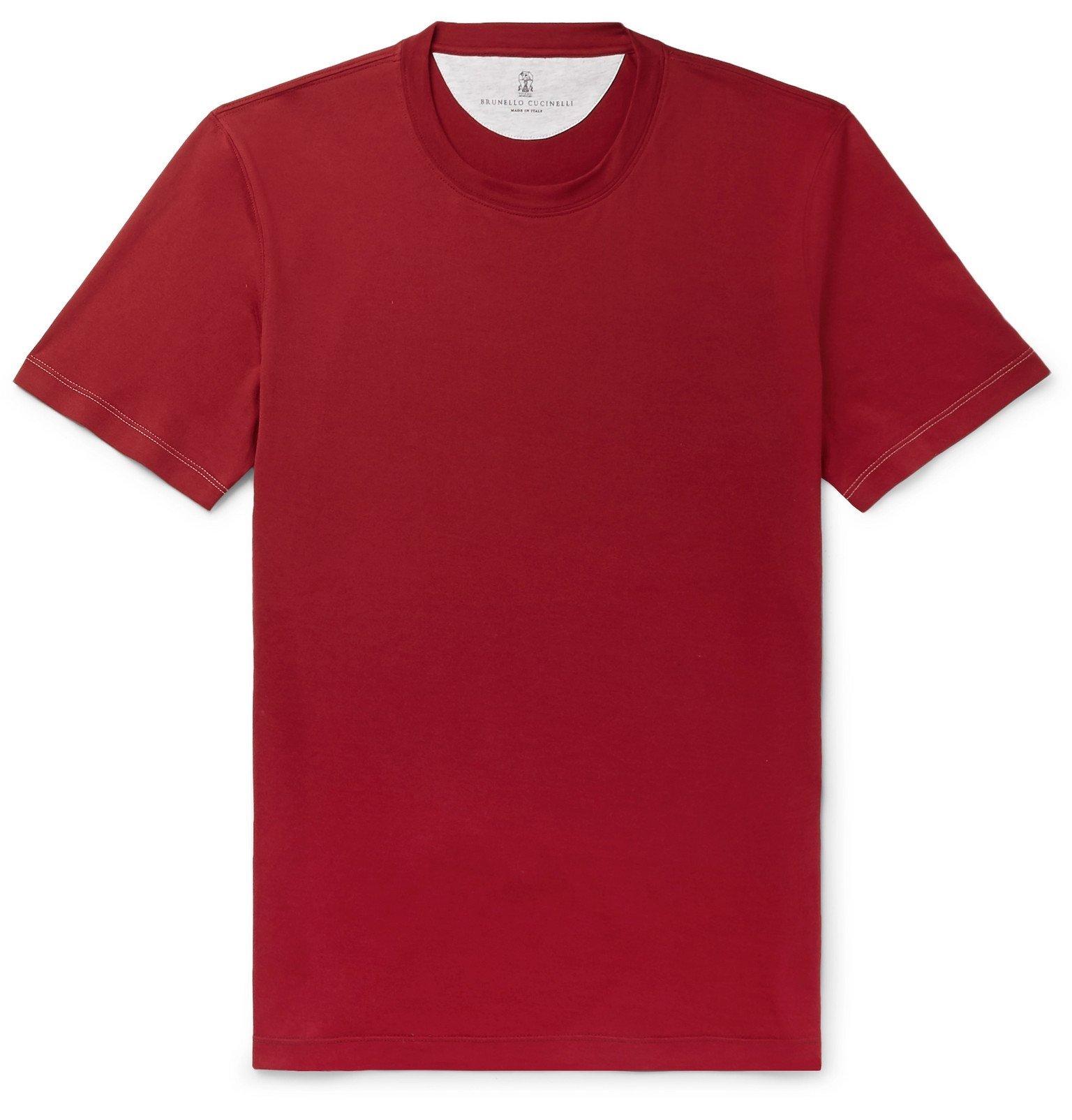 Photo: Brunello Cucinelli - Cotton-Jersey T-Shirt - Red